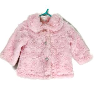 Soft Minky Pea Jacket Bling Buttons 3-6m